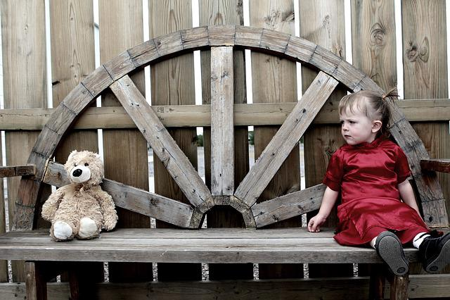 Girl, Bear, Teddy, Teddybear, Young, Sad, Kid Outside