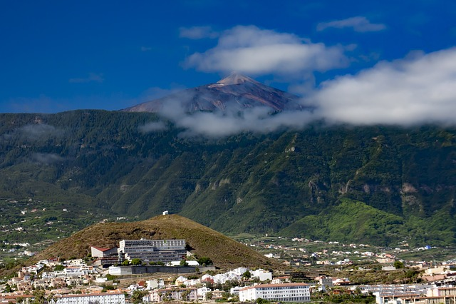 Teide, Tenerife, Volcano, City, Clouds