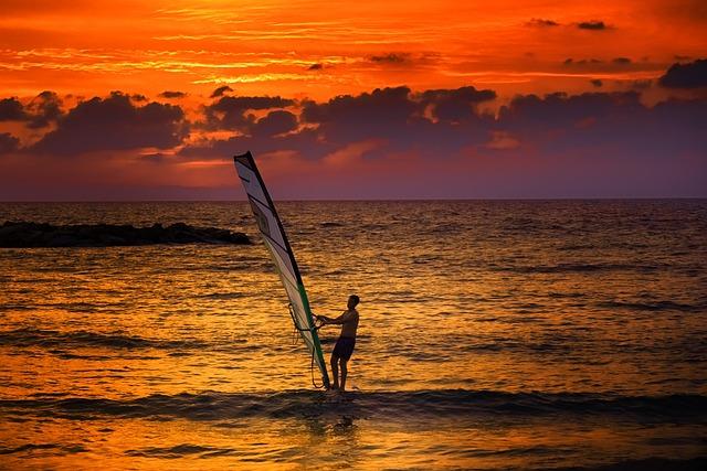 Sunset, Red Sky, Windsurfing, Waves, Alone, Tel Aviv