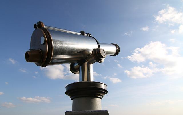 Telescope, Sky, Cyan, Silver, Coins Telescope