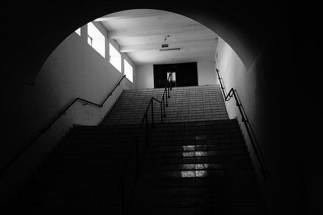 Ladder, Stairway, Urban, Black, White, Temple, Railing