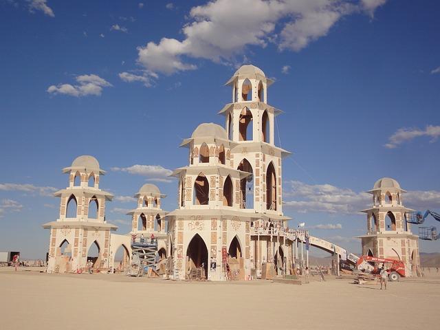 Burning Man, Temple, Blue Sky