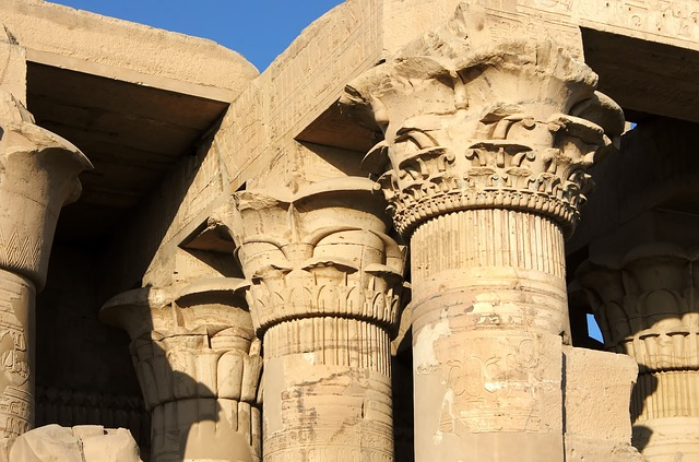 Egypt, Kom-ombo, Colonnade, Temple, Marquee, Sculpture
