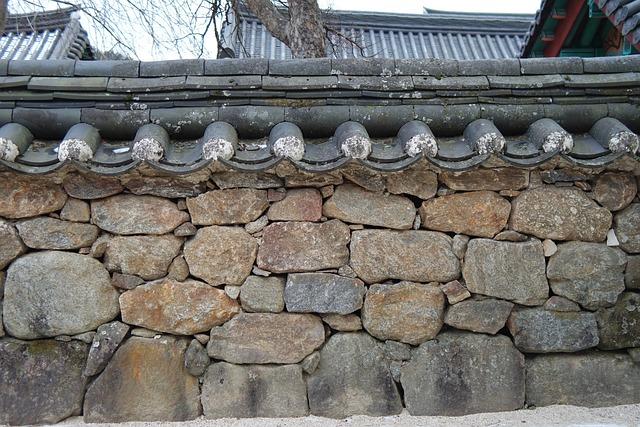 Stone Wall, Temple, Hwaeomsa, Jiri