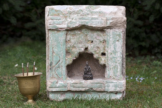 Altar, Temple Stone, Niche, India, Cup, Brass, Censer