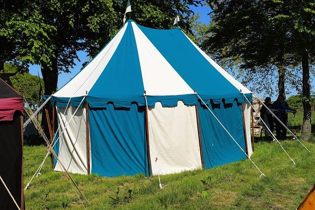 Tent, Ritterzelt, Blue White, Striped, Easily