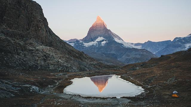 Swiss, Matterhorn, Tent, Lake, Reflection, Peak