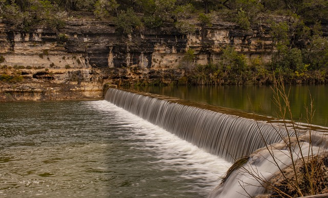Waterfall, Landscape, River, Dam, Texas Hill Country