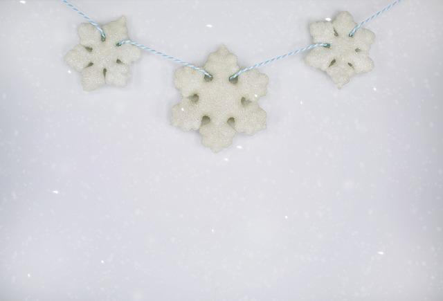 Snowflakes, Winter, Background, Text Space, Border