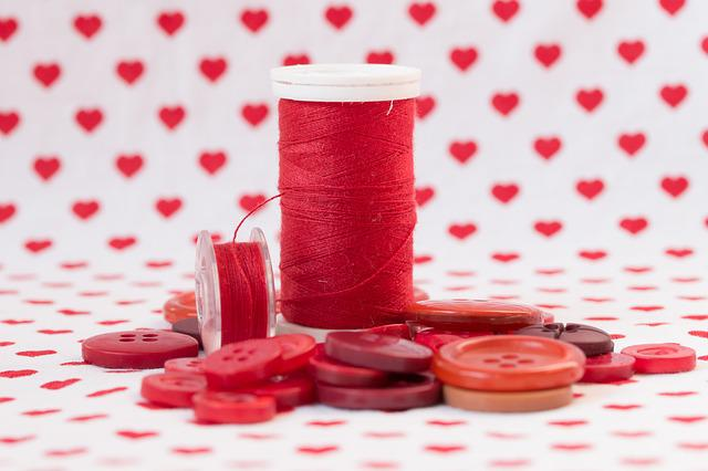 Thread, Red, Orb, Buttons, Sewing, Material, Textile
