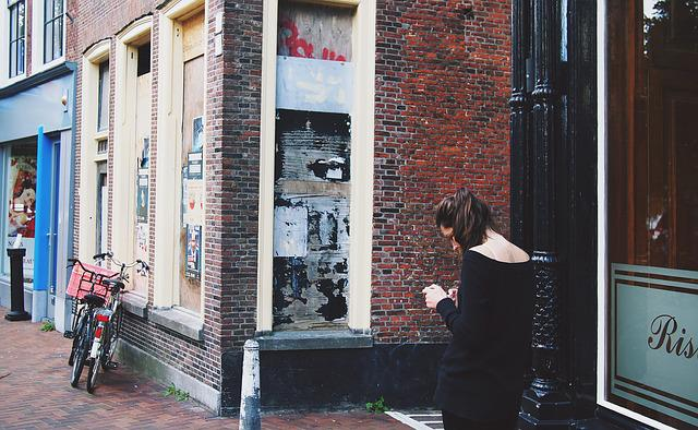 Girl, Woman, Texting, People, City, Urban, Bricks