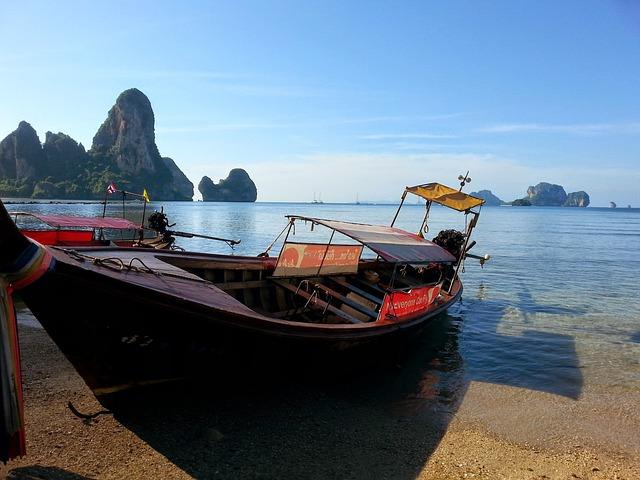 Thailand, Railay Beach, Sea, Thai Boat, Railay, Beach