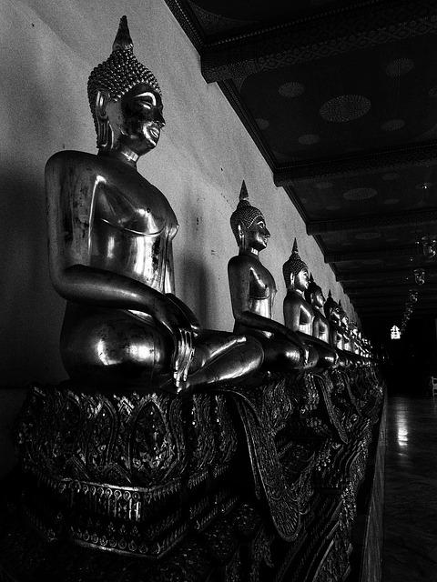 Black And White, Buddha Statue, Bangkok, Thailand
