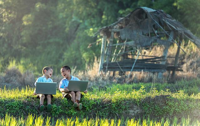 Children, Laugh, Laptop, Vietnamese, Thailand, Boys