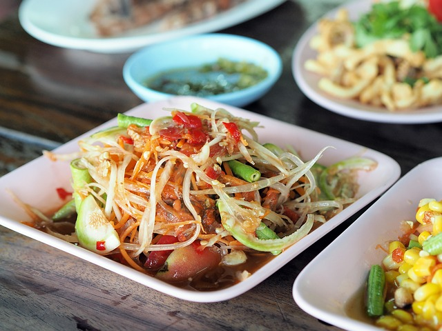 Papaya Salad, Isaan Food, Thailand Food, Dining Table