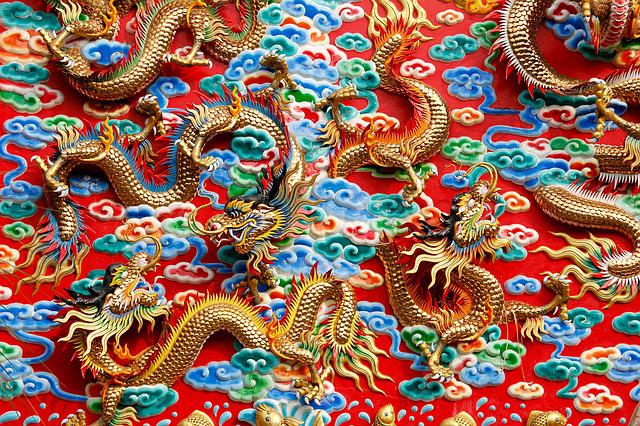 Dragons, China, Thailand, Ornament, Architecture