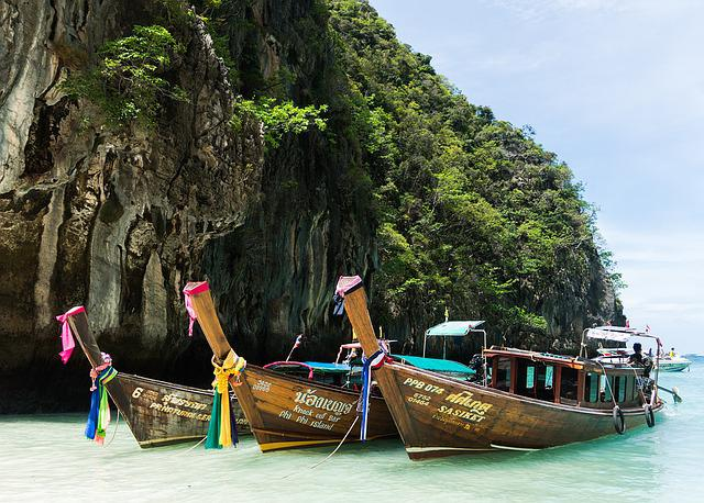 Phi Phi Island Tour, Phuket, Colorful Boats, Thailand
