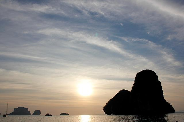 Sunset, Thailand, Rock, Nature, Sea, Water, Holiday