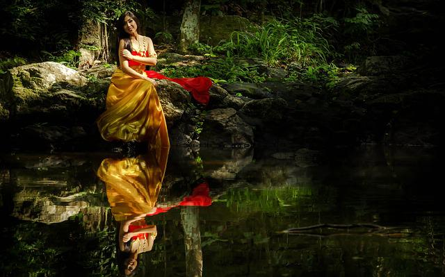 Thai, Thaland, Colorful, Woman, Red, Golden, Gold
