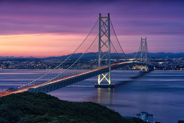 Landscape, At Dusk, The Akashi-kaikyo Bridge