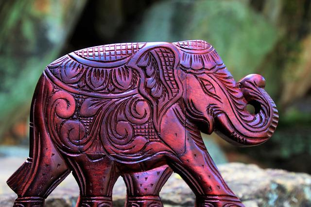 Elephant, Souvenir, Decoration, Wooden, The Art Of