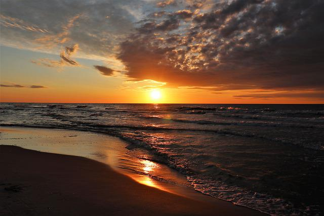The Baltic Sea, West, Sky, Clouds, Beach, Landscape