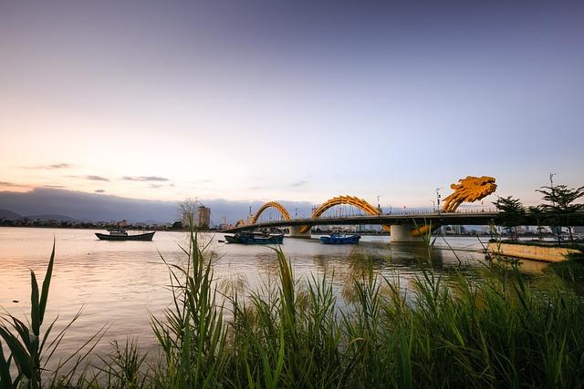 Vietnam, Danang, Dragon Bridge, The City, South River