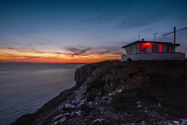 Coast, In The Evening, Ocean, Dorset, The Coast Guard