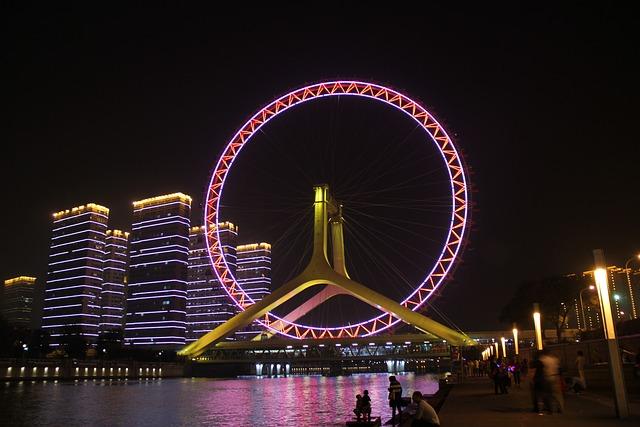 The Ferris Wheel, Tianjin, The Night Sky, The Night
