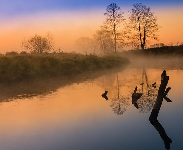 River, Landscape, The Fog, Sunrise