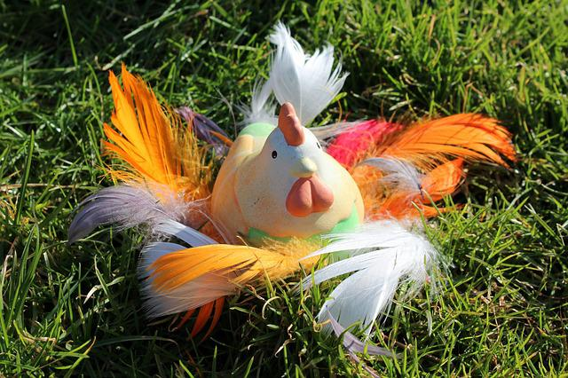 The Hen, Colorful, Spring, Decoration, Nature, Lawn