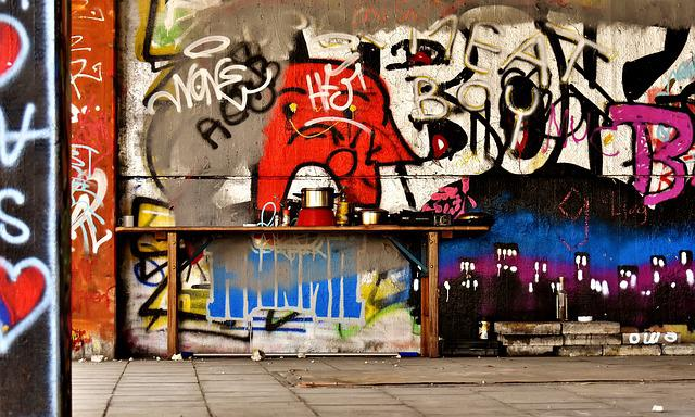 The Homeless Place, Cooking Space, Sad, Graffiti