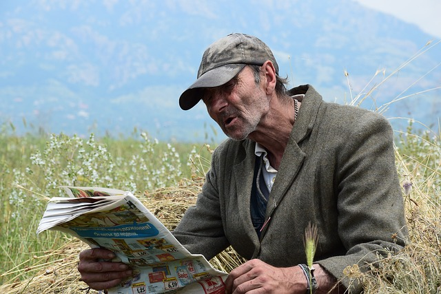 Old Age, Newspaper, Field, Roma, The Old Man, News