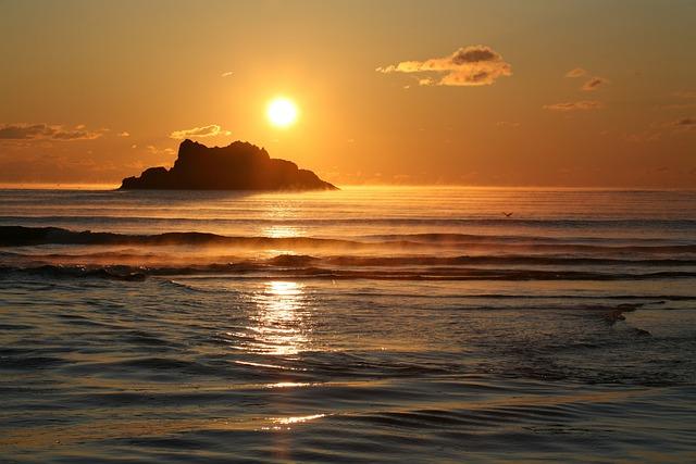 The Pacific Ocean, Sunrise, Sunset, Beach, Rocks, Wave