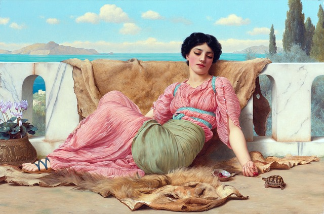 The Quiet Pet, Art, Painting, John William Godward