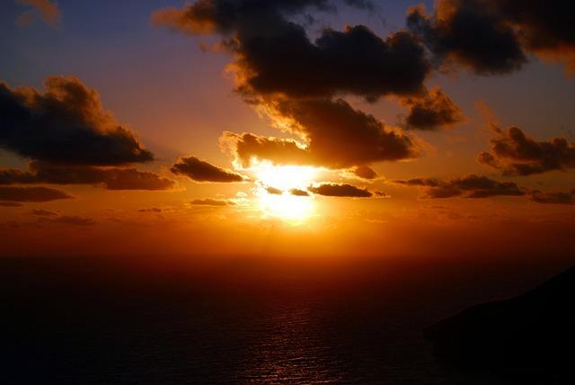 Sunset, Sky, Sea, Clouds, The Sun, The Rays, Glow