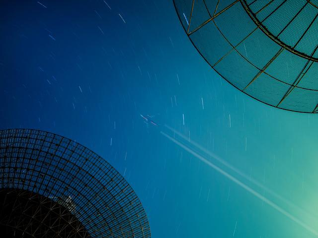 Starry Sky, Star Tracks, Radio Telescope, The Scenery