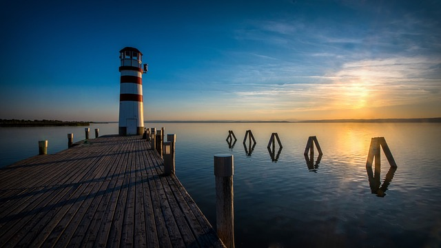 In The Evening, Sunset, Lighthouse, The Sky, Country