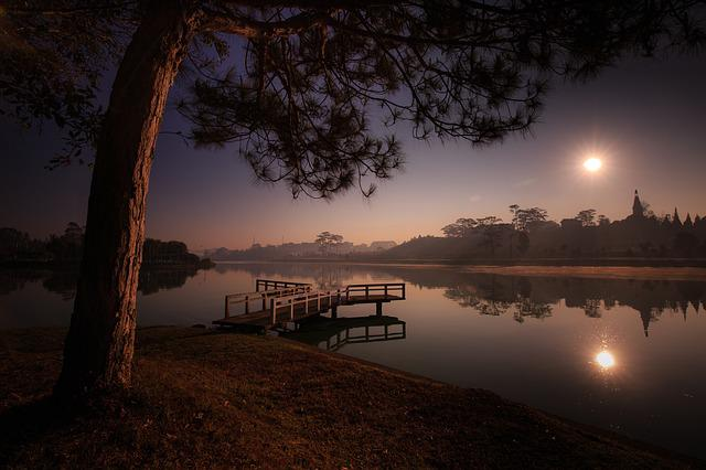 Lake, Sunset, Dawn, The Sun, The Far Side, Forest Trees