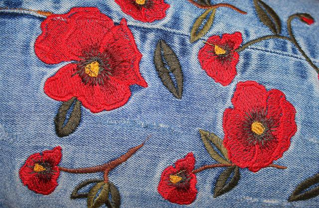 Jeans, Embroidery, Ornament, Clothing, Theme, Floral