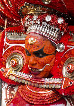 Theyyam, Red, Kerala, Temple, Culture, India, Hindu