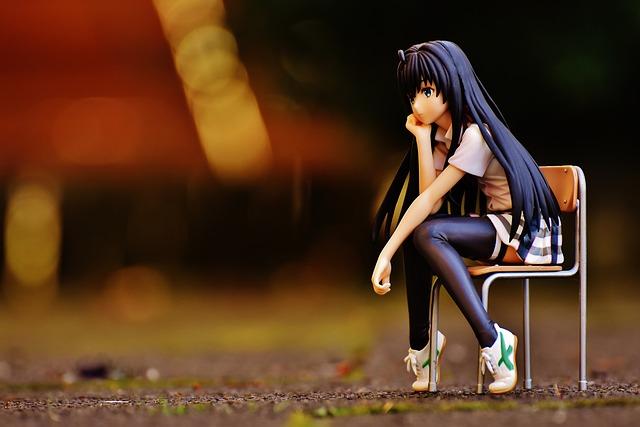 Girl, Sad, Chair, Sit, Thoughtful, Anime, View, Figure