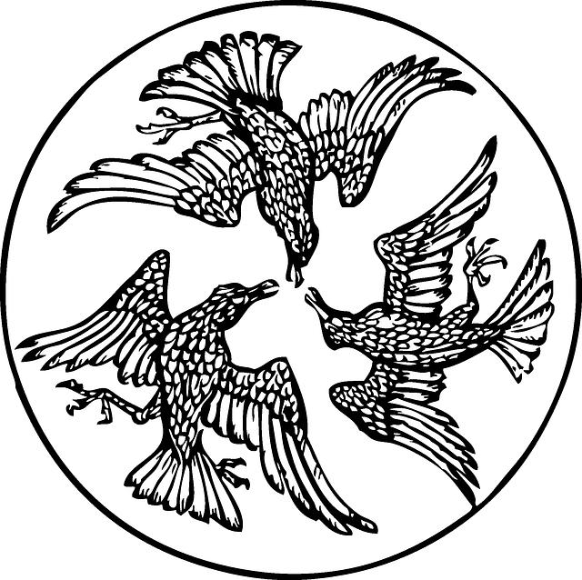 Bird, Circle, Three, China, Art, Medieval, Royal