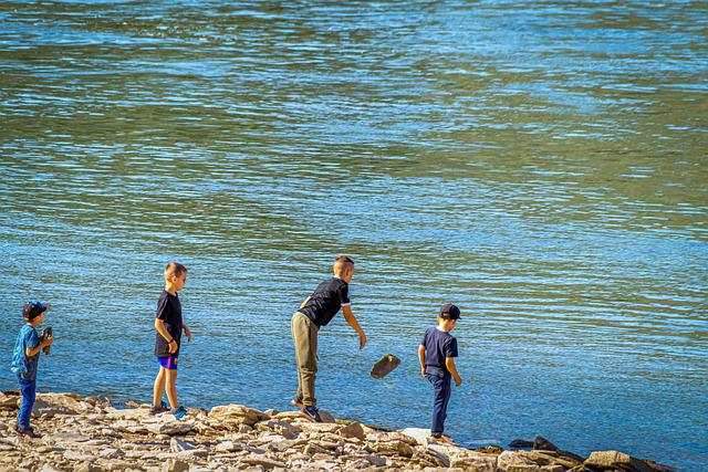 Play, Children, Stone, Throw, Water, River, Joy, Happy
