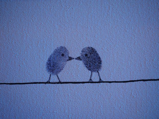 Thumbprint, Fingerprint, Birds, Love, Pair, Lovers