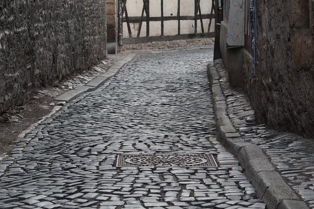 Erfurt, Thuringia Germany, Alley, Cobblestones