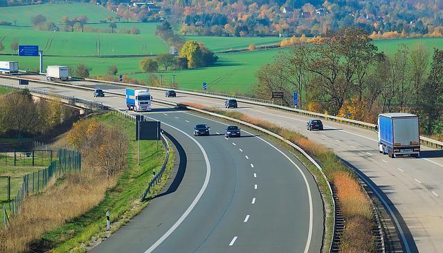 Highway, A38, Thuringia Germany, Landscape, Autumn