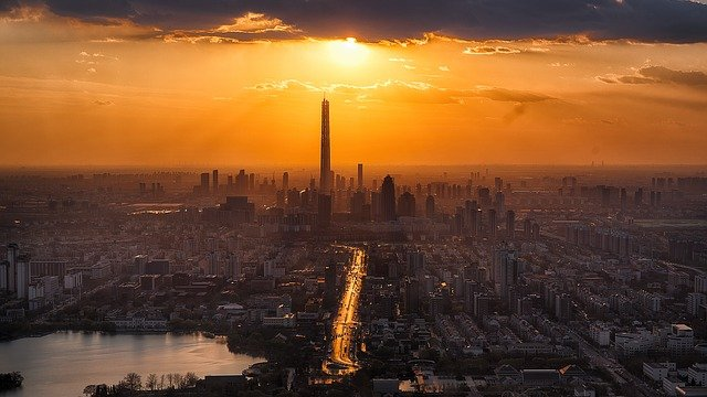 Tianjin, Twilight, City, Scenery, Sunset, Tower, Sun
