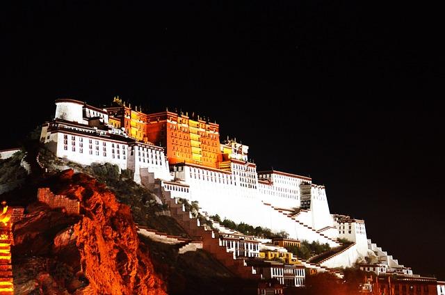 Tibet, Lhasa, Night View, The Potala Palace
