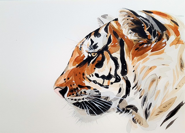 Tiger, Animal, Nature, Painting, Watercolor, Profile